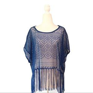 H&M Boho Crochet Knit Mesh Top with Fringe - Blue